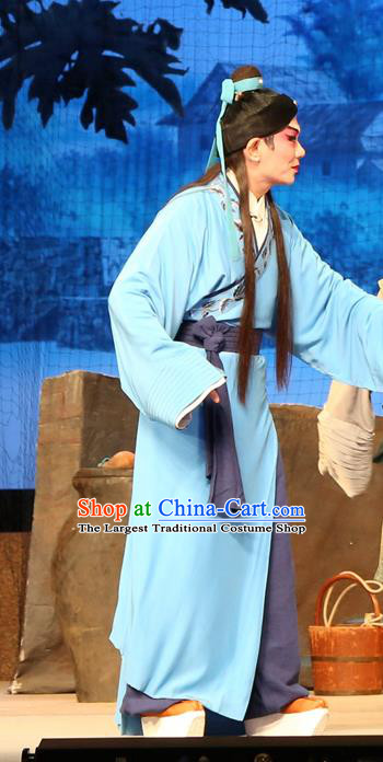 Legend of Lun Wenxu Chinese Guangdong Opera Poor Scholar Apparels Costumes and Headpieces Traditional Cantonese Opera Xiaosheng Garment Clothing