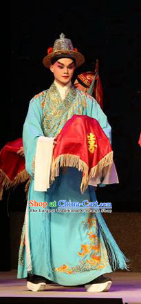 Legend of Lun Wenxu Chinese Guangdong Opera Figurant Apparels Costumes and Headpieces Traditional Cantonese Opera Young Male Garment Clothing