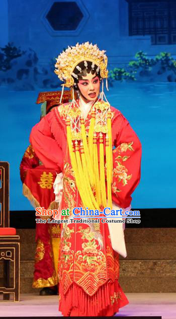 Chinese Cantonese Opera Bride Garment Legend of Lun Wenxu Costumes and Headdress Traditional Guangdong Opera Hua Tan Apparels Wedding Red Dress