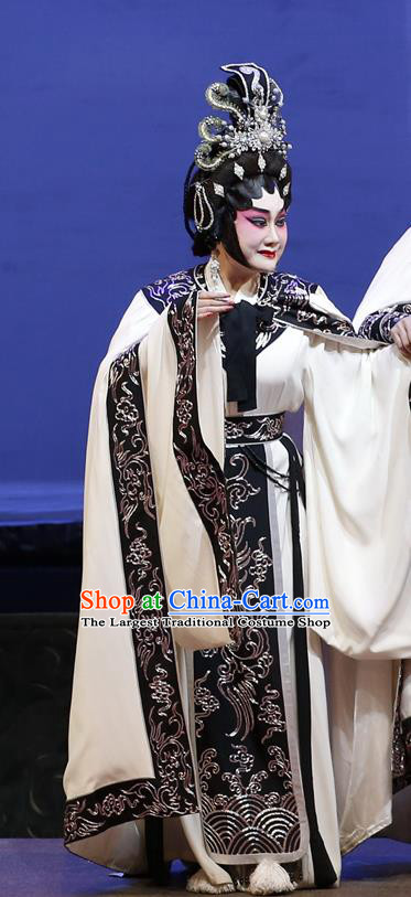 Chinese Cantonese Opera Queen Zhou Garment Southern Tang Emperor Costumes and Headdress Traditional Guangdong Opera Hua Tan Apparels Empress Dress