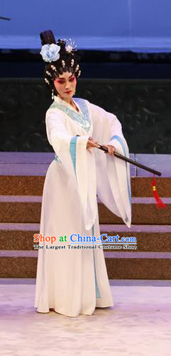 Chinese Cantonese Opera Palace Lady Garment Southern Tang Emperor Costumes and Headdress Traditional Guangdong Opera Xiaodan Apparels Court Maid White Dress