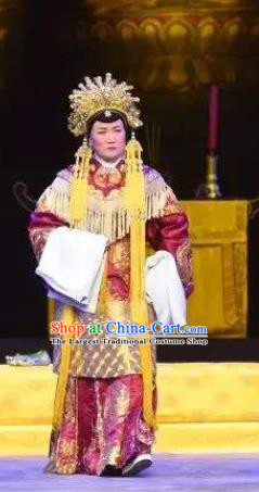 Chinese Cantonese Opera Elderly Female Garment Southern Tang Emperor Costumes and Headdress Traditional Guangdong Opera Laodan Apparels Empress Dowager Dress