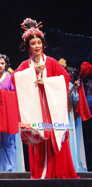 Chinese Cantonese Opera Young Female Garment Empress Zhou the Lesser Costumes and Headdress Traditional Guangdong Opera Queen Apparels Hua Tan Red Dress