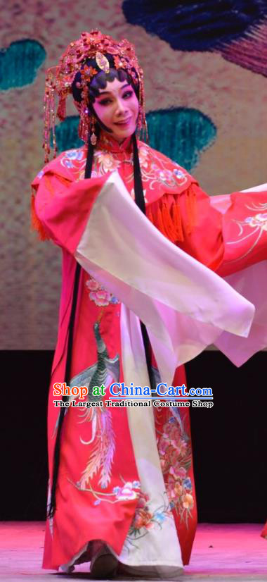 Chinese Cantonese Opera Bride Garment Hua Jian Ji Costumes and Headdress Traditional Guangdong Opera Hua Tan Apparels Diva Yang Yaoxian Red Dress