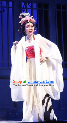 Chinese Cantonese Opera Actress Garment Empress Zhou the Lesser Costumes and Headdress Traditional Guangdong Opera Queen Apparels Hua Tan White Dress