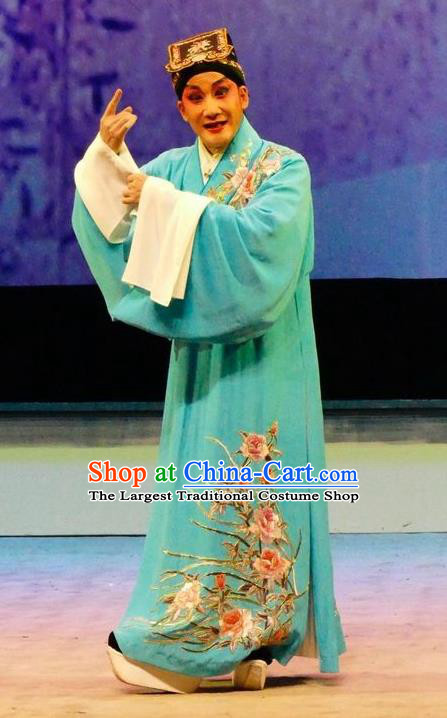 Hua Jian Ji Chinese Guangdong Opera Young Male Apparels Costumes and Headpieces Traditional Cantonese Opera Scholar Garment Xiaosheng Liang Yicang Clothing