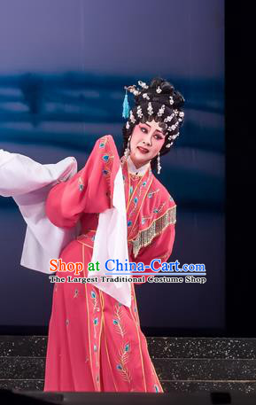 Chinese Cantonese Opera Diva Qian Yulian Garment The Romance of Hairpin Costumes and Headdress Traditional Guangdong Opera Hua Tan Apparels Young Female Red Dress