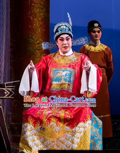 The Romance of Hairpin Chinese Guangdong Opera Xiaosheng Apparels Costumes and Headpieces Traditional Cantonese Opera Number One Scholar Garment Young Male Clothing