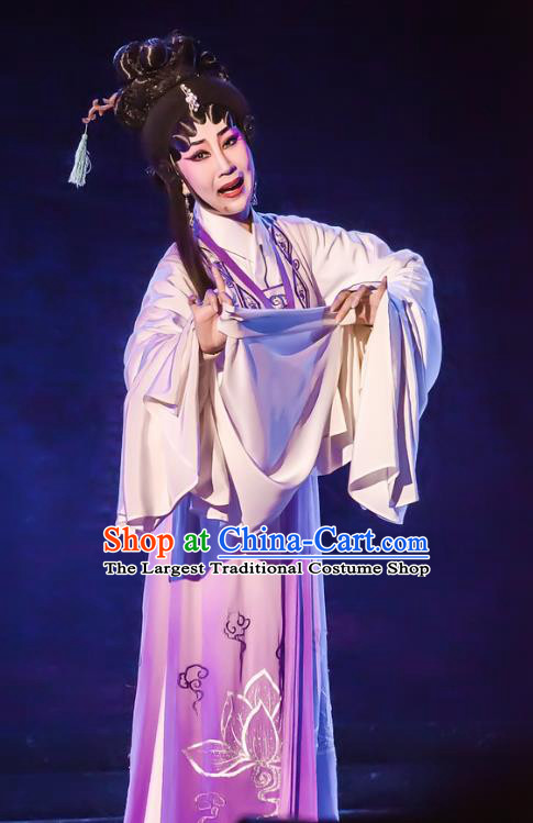 Chinese Cantonese Opera Young Female Garment The Romance of Hairpin Costumes and Headdress Traditional Guangdong Opera Actress Apparels Diva Qian Yulian Dress