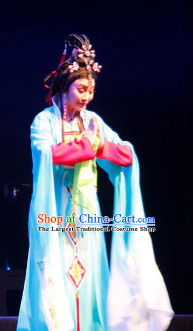 Chinese Cantonese Opera Diva Garment Empress Zhou the Lesser Costumes and Headdress Traditional Guangdong Opera Queen Apparels Hua Tan Blue Dress