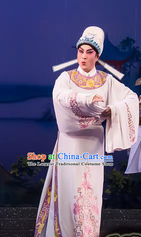 The Romance of Hairpin Chinese Guangdong Opera Young Male Apparels Costumes and Headpieces Traditional Cantonese Opera Scholar Garment Wang Shipeng Clothing