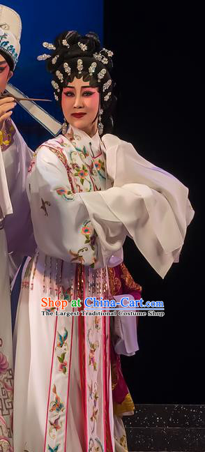 Chinese Cantonese Opera Huadan Garment The Romance of Hairpin Costumes and Headdress Traditional Guangdong Opera Young Female Apparels Actress Qian Yulian White Dress