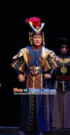 Empress Zhou the Lesser Chinese Guangdong Opera General Apparels Costumes and Headpieces Traditional Cantonese Opera Military Officer Garment Clothing