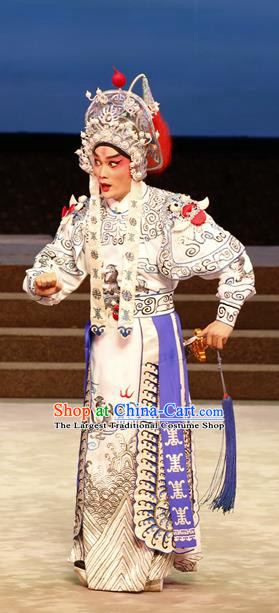 General Ma Chao Chinese Guangdong Opera Martial Male Apparels Costumes and Headpieces Traditional Cantonese Opera Takefu Garment Wusheng Clothing
