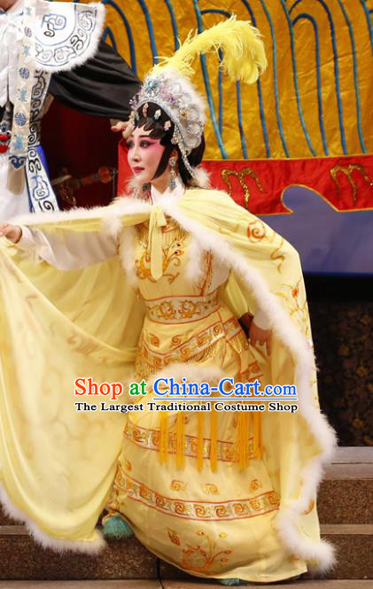 Chinese Cantonese Opera Actress Jiang Yunxia Garment General Ma Chao Costumes and Headdress Traditional Guangdong Opera Hua Tan Apparels Young Female Yellow Dress
