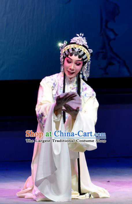 Chinese Cantonese Opera Hua Tan Yang Yaoxian Garment Hua Jian Ji Costumes and Headdress Traditional Guangdong Opera Young Female Apparels Actress Dress
