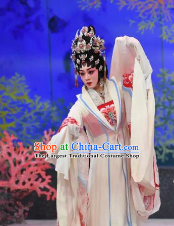 Chinese Cantonese Opera Dragon Princess Garment Liu Yi Delivers A Letter Costumes and Headdress Traditional Guangdong Opera Hua Tan Apparels Diva Dress