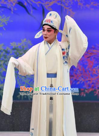 Liu Yi Delivers A Letter Chinese Guangdong Opera Scholar Apparels Costumes and Headpieces Traditional Cantonese Opera Xiaosheng Garment White Clothing