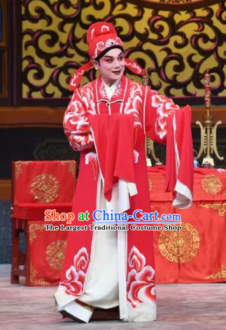 Liu Yi Delivers A Letter Chinese Guangdong Opera Young Male Apparels Costumes and Headpieces Traditional Cantonese Opera Xiaosheng Garment Bridegroom Clothing