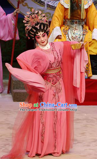 Chinese Cantonese Opera Hua Tan Garment Liu Yi Delivers A Letter Costumes and Headdress Traditional Guangdong Opera Dragon Princess Apparels Young Female Pink Dress