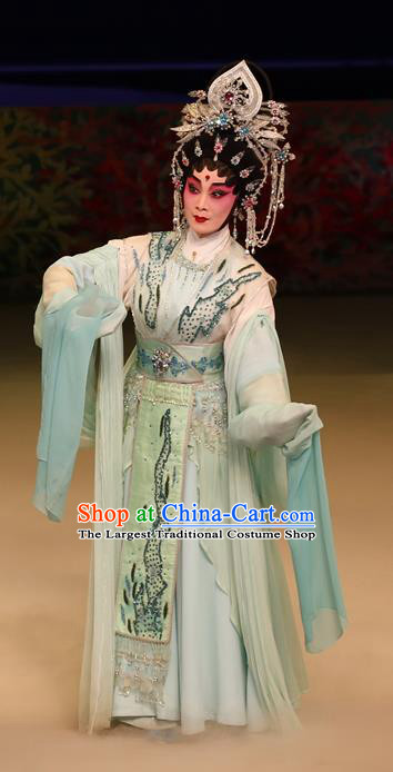 Chinese Cantonese Opera Young Female Garment Liu Yi Delivers A Letter Costumes and Headdress Traditional Guangdong Opera Princess San Niang Apparels Hua Tan Dress