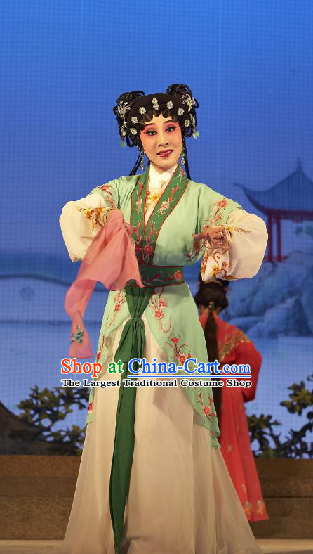 Chinese Cantonese Opera Young Lady A Xiu Garment Legend of Lun Wenxu Costumes and Headdress Traditional Guangdong Opera Xiaodan Apparels Servant Girl Dress