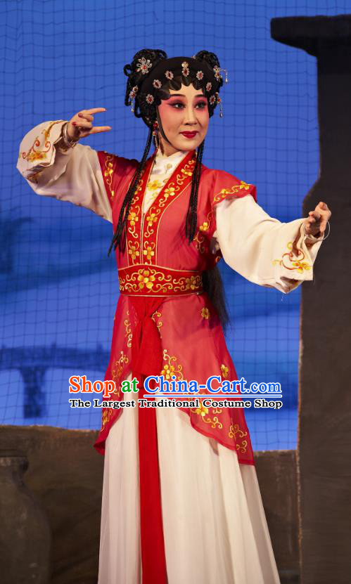 Chinese Cantonese Opera Maid Lady A Xiu Garment Legend of Lun Wenxu Costumes and Headdress Traditional Guangdong Opera Xiaodan Apparels Servant Girl Red Dress