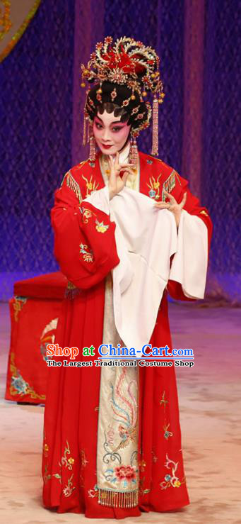 Chinese Cantonese Opera Bride Garment Liu Yi Delivers A Letter Costumes and Headdress Traditional Guangdong Opera Young Female Apparels Diva San Niang Red Dress