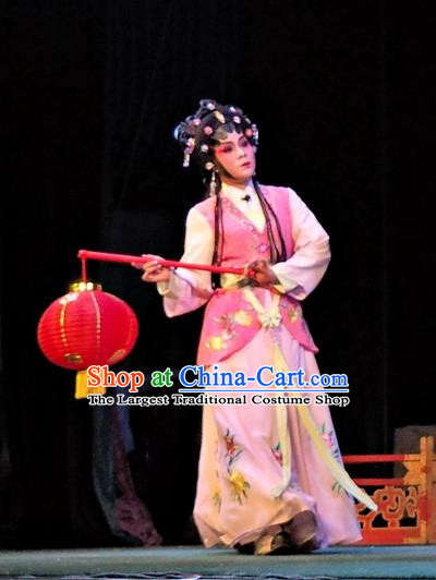 Chinese Cantonese Opera Maidservant Huan Sha Garment Story of the Violet Hairpin Costumes and Headdress Traditional Guangdong Opera Xiaodan Apparels Young Lady Dress