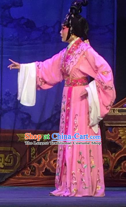 Chinese Cantonese Opera Diva Garment Story of the Violet Hairpin Costumes and Headdress Traditional Guangdong Opera Hua Tan Apparels Actress Huo Xiaoyu Pink Dress