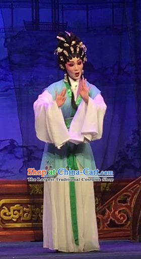 Chinese Cantonese Opera Xiaodan Huan Sha Garment Story of the Violet Hairpin Costumes and Headdress Traditional Guangdong Opera Apparels Maidservant Dress