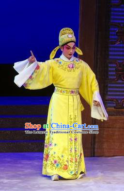 Story of the Violet Hairpin Chinese Guangdong Opera Xiaosheng Apparels Costumes and Headpieces Traditional Cantonese Opera Garment Gifted Youth Li Yi Yellow Robe Clothing