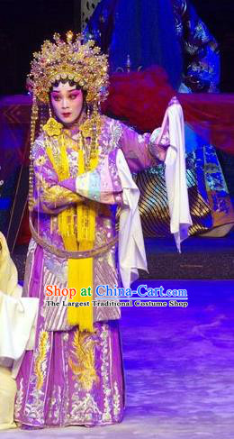 Chinese Cantonese Opera Actress Garment Story of the Violet Hairpin Costumes and Headdress Traditional Guangdong Opera Huo Xiaoyu Apparels Young Beauty Purple Dress