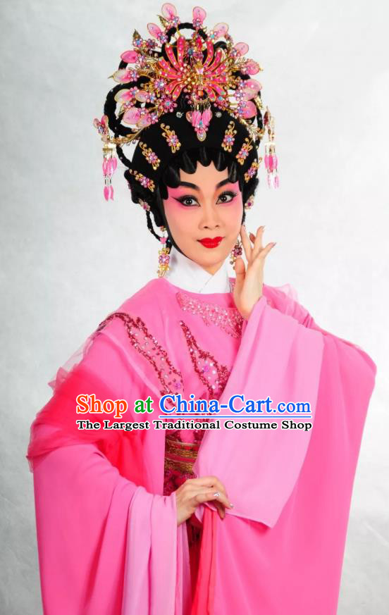 Chinese Cantonese Opera Huo Xiaoyu Garment Story of the Violet Hairpin Costumes and Headdress Traditional Guangdong Opera Diva Apparels Hua Tan Rosy Dress