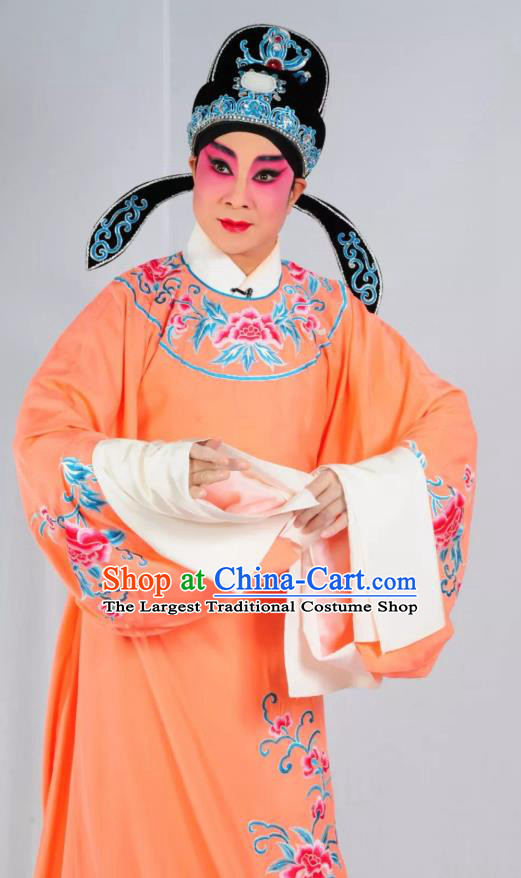 Story of the Violet Hairpin Chinese Guangdong Opera Niche Li Yi Apparels Costumes and Headpieces Traditional Cantonese Opera Scholar Garment Xiaosheng Orange Clothing