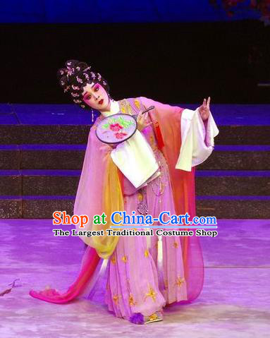 Chinese Cantonese Opera Hua Tan Garment Story of the Violet Hairpin Costumes and Headdress Traditional Guangdong Opera Diva Apparels Huo Xiaoyu Lilac Dress