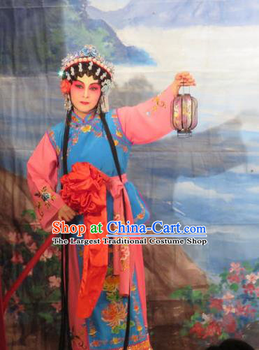 Chinese Cantonese Opera Xiaodan Chun Lan Garment Hua Tian Ba Xi Hairpin Costumes and Headdress Traditional Guangdong Opera Young Lady Apparels Maidservant Dress
