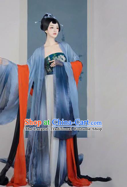 Chinese Traditional Drama Ancient Palace Lady Blue Hanfu Dress Apparels Tang Dynasty Royal Princess Historical Costumes and Headpieces Complete Set
