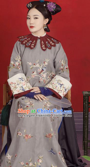 Chinese Traditional Drama Ancient Imperial Consort Hanfu Dress Apparels Qing Dynasty Manchu Palace Concubine Historical Costumes and Headdress for Women
