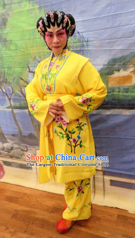 Chinese Cantonese Opera Female Servant Garment Hua Tian Ba Xi Hairpin Costumes and Headdress Traditional Guangdong Opera Maid Woman Apparels Yellow Dress