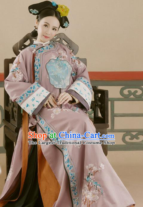 Chinese Traditional Qing Dynasty Manchu Palace Concubine Historical Costumes Ancient Drama Imperial Consort Hanfu Dress Apparels and Headdress for Women