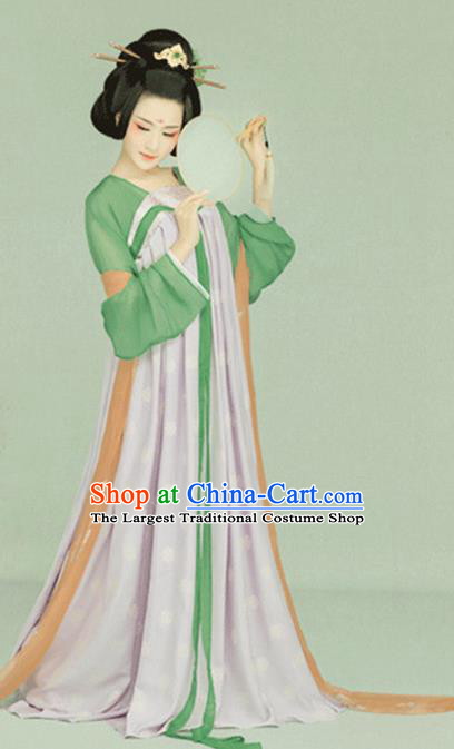 Chinese Traditional Tang Dynasty Noble Concubine Historical Costumes Ancient Drama Palace Woman Hanfu Dress Apparels and Headpieces