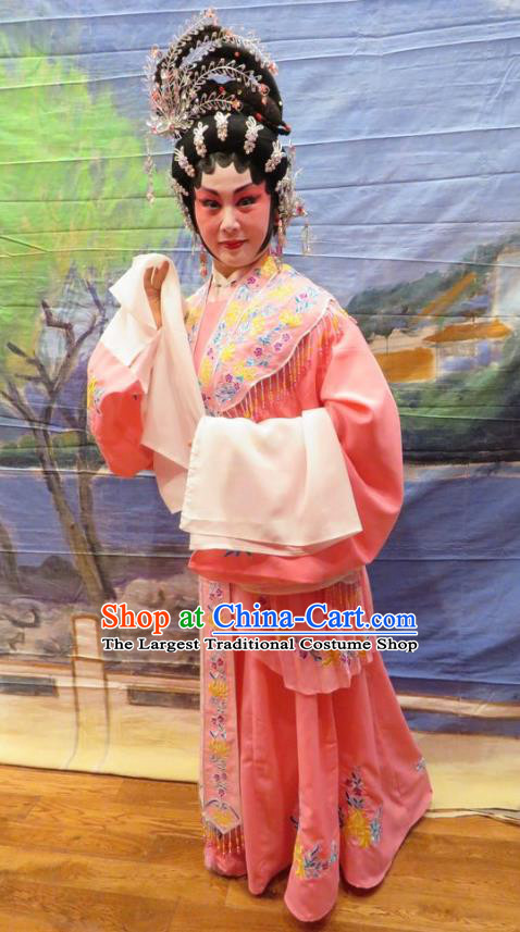Chinese Cantonese Opera Actress Garment Hua Tian Ba Xi Hairpin Costumes and Headdress Traditional Guangdong Opera Hua Tan Apparels Rich Lady Liu Yuyan Dress