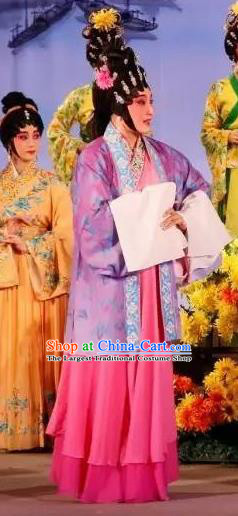 Chinese Cantonese Opera Young Female Garment Hun Qian Zhu Ji Xiang Costumes and Headdress Traditional Guangdong Opera Actress Apparels Woman Dress