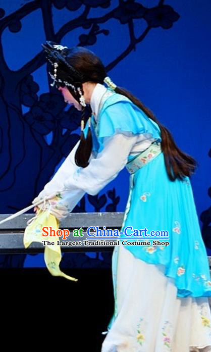 Chinese Cantonese Opera Swordswoman Garment Yuan Yang Sword Costumes and Headdress Traditional Guangdong Opera Hua Tan Apparels Martial Female Qin Huilan Blue Dress