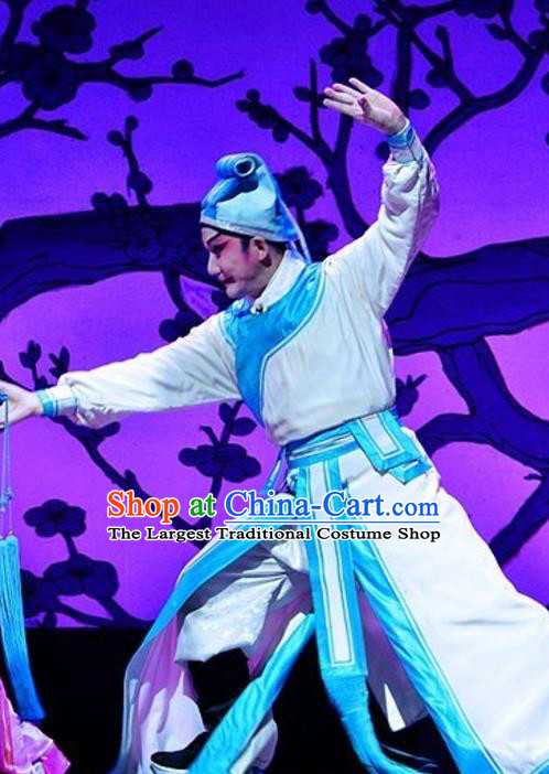 Yuan Yang Sword Chinese Guangdong Opera Swordsman Apparels Costumes and Headpieces Traditional Cantonese Opera Wusheng Garment Hero Clothing