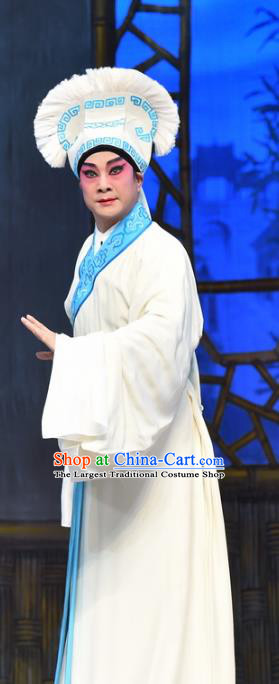 Hun Qian Zhu Ji Xiang Chinese Guangdong Opera Young Male Apparels Costumes and Headpieces Traditional Cantonese Opera Xiaosheng Garment Civilian Male Huang Zhuwan Clothing