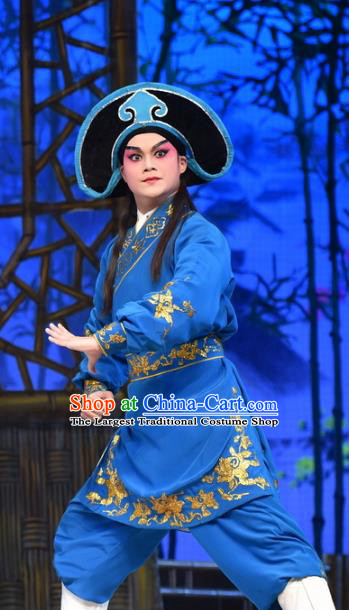 Hun Qian Zhu Ji Xiang Chinese Guangdong Opera Martial Man Apparels Costumes and Headpieces Traditional Cantonese Opera Wusheng Garment Swordsman Blue Clothing