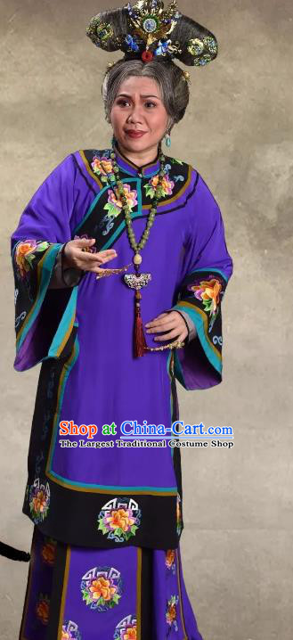 Chinese Cantonese Opera Dame Garment Barwo Guild Costumes and Headdress Traditional Guangdong Opera Elderly Female Apparels Pantaloon Purple Dress