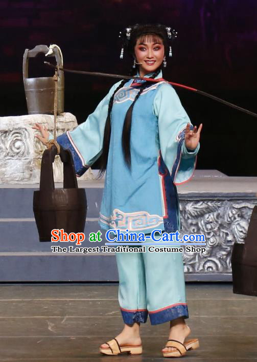 Chinese Cantonese Opera Village Girl Garment Barwo Guild Costumes and Headdress Traditional Guangdong Opera Xiaodan Apparels Young Lady Cui Ping Dress